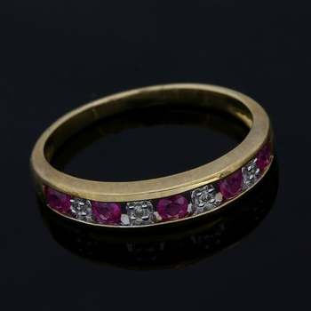 Solid 10k Yellow&White Gold, 0.07ctw Genuine Diamond & 0.30ctw Ruby Ring Size 7
