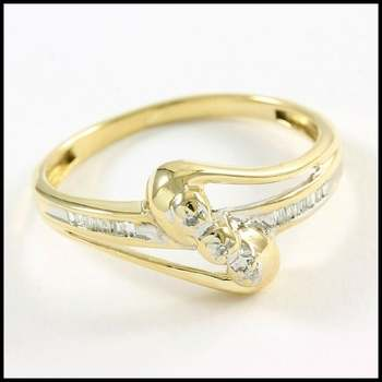 Solid 10k Yellow&White Gold, 0.08ctw Genuine Diamond Ring Size 6.75