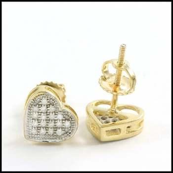 Solid 10k Yellow&White Gold, 0.10ctw Genuine Diamond Heart Shape Stud Earrings