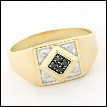 Solid 10k Yellow&White Gold, 0.10ctw Genuine Diamond Men's Ring Size 13