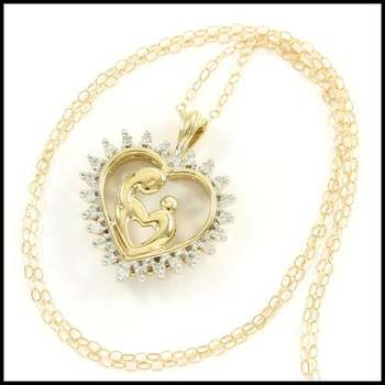 Solid 10k Yellow&White Gold, 0.12ctw Genuine Diamond Necklace