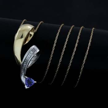 Solid 10k Yellow&White Gold, 0.15ctw Genuine Diamond & 0.75ctw Tanzanite Necklace