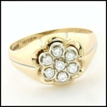 Solid 10k Yellow&White Gold, 0.20ctw Genuine Diamond Unisex Ring Size 8.75