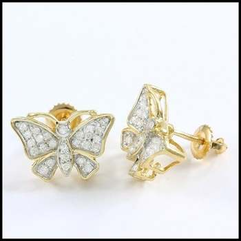 Solid 10k Yellow&White Gold, 0.25ctw Genuine Diamond Butterfly Stud Earrings