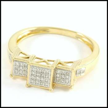 Solid 10k Yellow&White Gold, 0.25ctw Genuine Diamond Ring Size 8
