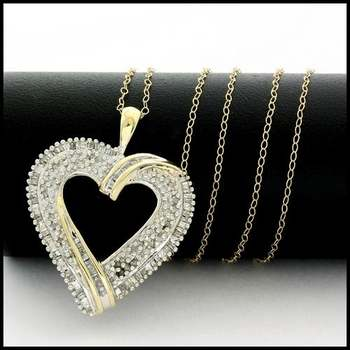 Solid 10k Yellow&White Gold, 0.50ctw Genuine Diamond Necklace with Heart Shape Pendant