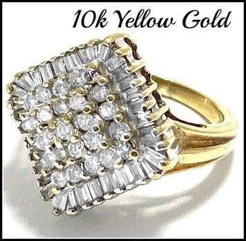 Solid 10k Yellow&White Gold, 1.00ctw Genuine Diamond Cluster Ring Size 6