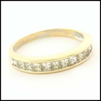 Solid 10k Yellow&White Gold, 1.00ctw Genuine Diamond Wedding Anniversary Ring Size 7.75