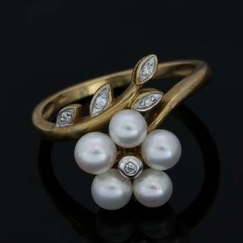 Solid 10k Yellow&White Gold, 2.5mm Genuine White Pearl & 0.035ctw White Sapphire Ring Size 7
