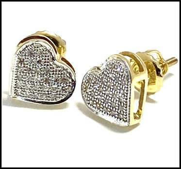 Solid 10k Yellow&White Gold, 52 Genuine Diamonds Screw Backs Stud Earrings