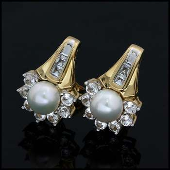 Solid 10k Yellow&White Gold, 6mm White Pearl & 1.25ctw White Sapphire Earrings