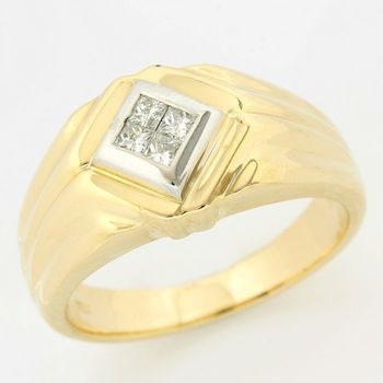 Solid 14 kt Two-Tone Gold, 0.25ctw Genuine Diamond Ring Size 9.5