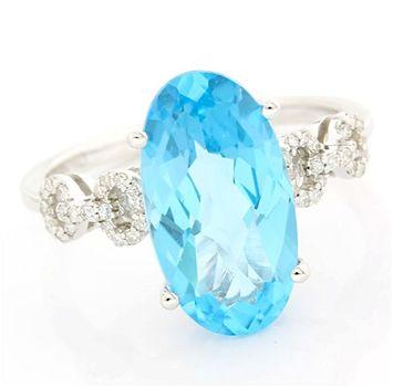 Solid 14 kt White Gold, 0.13ctw Genuine Diamond & 3.50ctw Genuine Topaz Ring Size 7.25