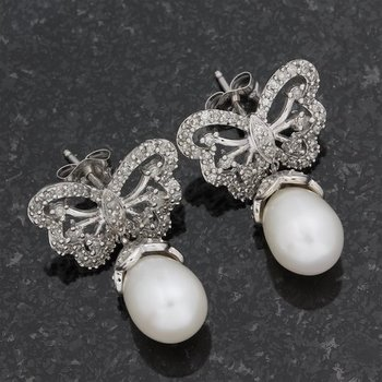 Solid 14 kt. White Gold, 0.42ctw Genuine Diamond & 8mm Akoya Pearls Earrings