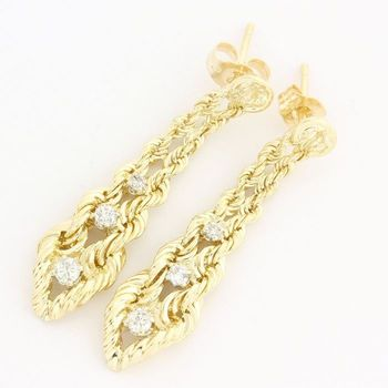 Solid 14 kt. Yellow Gold, 0.25ctw Genuine Diamond Earrings