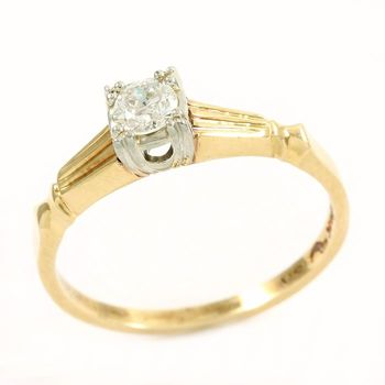 Solid 14/18k Yellow&White Gold, 0.20ctw Genuine Diamond Ring Size 6