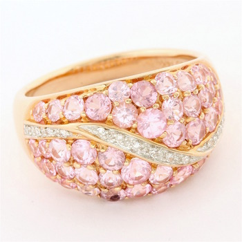 Solid 14k Rose Gold, 0.06ctw Genuine Diamond & 3.35ctw Genuine Pink Spinel Ring Size 8