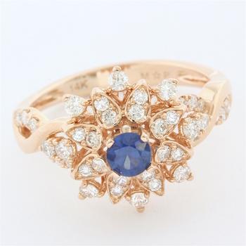 Solid 14k Rose Gold, 0.61ctw Genuine Diamond & 0.30ctw Genuine Sapphire Ring Size 7