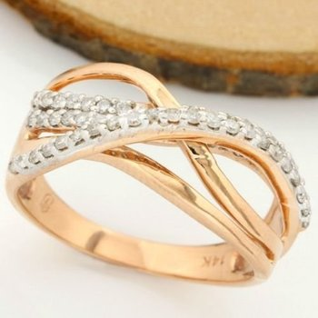 Solid 14k Rose Gold, 0.75ctw Genuine Diamonds Ring sz 9