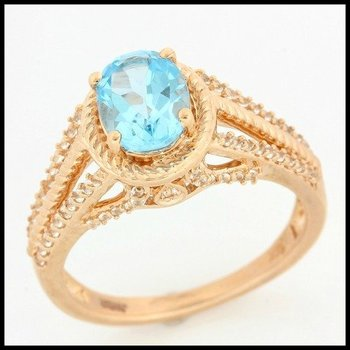 Solid 14k Rose Gold, 2.50ctw Genuine Swiss Blue Topaz & 0.35ctw Genuine White Sapphire Ring sz 7