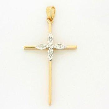 Solid 14k Two-Tone Gold, 0.031ctw Genuine H/SI Diamonds Cross Pendant