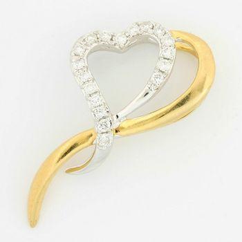 Solid 14k Two-Tone Gold, 0.20ctw Genuine H/SI Diamond Heart Shape Pendant