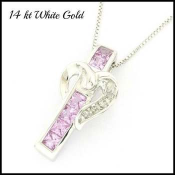 Solid 14k White Gold, 0.03ctw Genuine Diamond & 0.75ctw Pink Sapphire Necklace