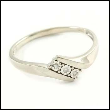 Solid 14k White Gold, 0.03ctw Genuine Diamond Ring Sz 8.5