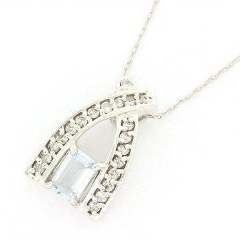 Solid 14k White Gold, 0.040ctw Genuine Diamond & 1.10ctw Genuine Aquamarine Pendant Necklace