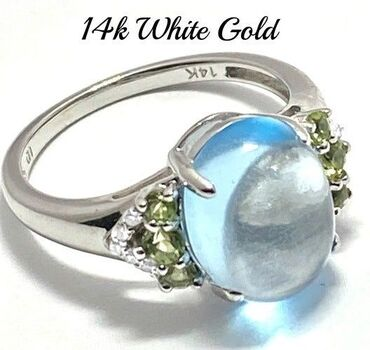 Solid 14k White Gold, 0.05ctw Genuine Diamond & 6.50ctw Cabochon Blue Topaz & 0.30ctw Peridot Ring Size 7