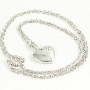 Solid 14k White Gold, 0.05ctw Genuine Diamond Necklace