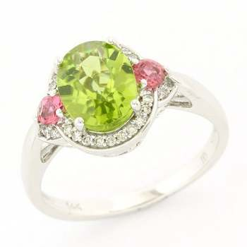 Solid 14k White Gold, 0.11ctw Genuine Diamond & 2.00ctw Peridot & 0.15ctw Pink Sapphire Ring Size 7.25