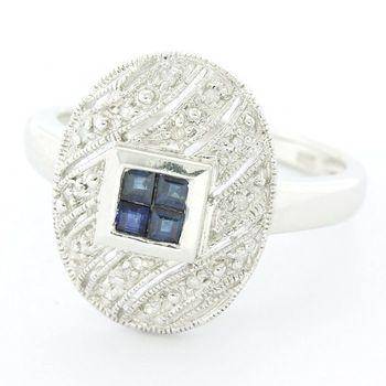Solid 14k White Gold, 0.12ctw Genuine Diamond & 0.18ctw Sapphire Ring Size 7.5