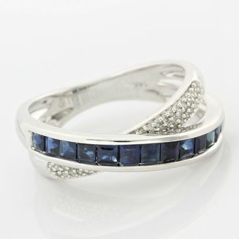 Solid 14k White Gold, 0.12ctw Genuine H/SI Diamonds & 1.15ctw Genuine Sapphire Ring sz 7