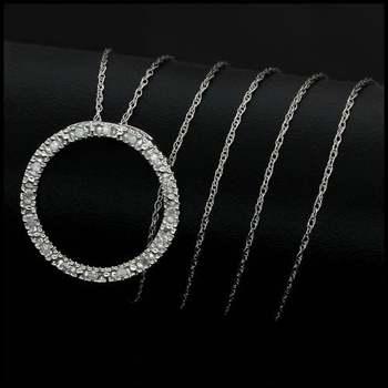 Solid 14k White Gold, 0.15ctw Genuine Diamond Necklace