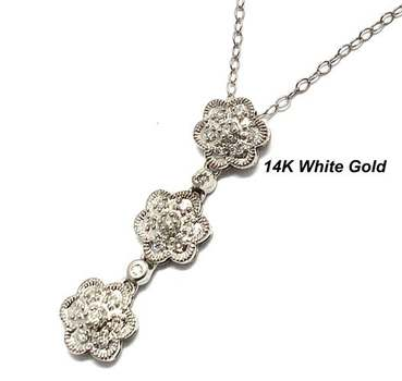 Solid 14k White Gold, 0.15ctw Genuine Diamond Necklace