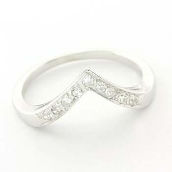 Solid 14k White Gold, 0.15ctw Genuine Diamond Ring Size 5.5