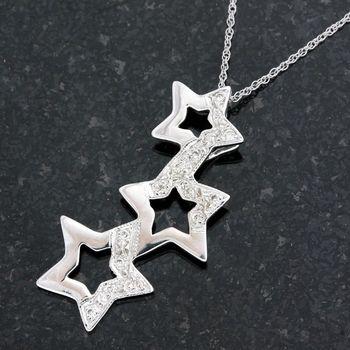 Solid 14k White Gold, 0.15ctw Genuine H/SI Diamonds Pendant Necklace