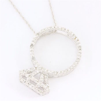 Solid 14k White Gold, 0.20ctw Genuine Diamond Necklace with Pendant
