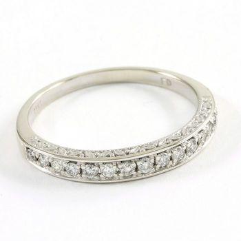 Solid 14k White Gold, 0.20ctw Genuine Diamond Ring Size 6.5