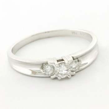 Solid 14k White Gold, 0.20ctw Genuine Diamond Ring Size 8