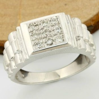 Solid 14k White Gold, 0.20ctw of Genuine Diamonds Ring size 10.75