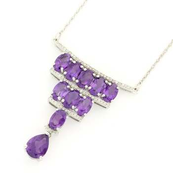 Solid 14k White Gold, 0.25ctw Genuine Diamond & 14.00ctw Amethyst Necklace