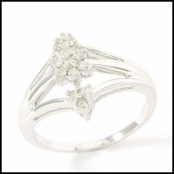 Solid 14k White Gold, 0.25ctw Genuine Diamond Ring Size 8.5