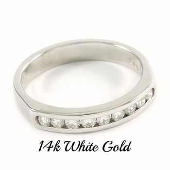 Solid 14k White Gold, 0.25ctw Genuine Diamond Ring Sz 6