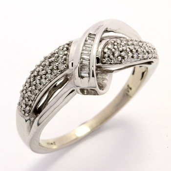 Solid 14k White Gold, 0.25ctw Genuine Diamonds Band Ring sz 7