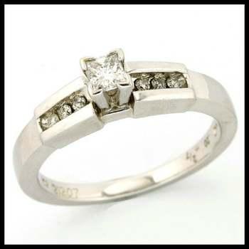 Solid 14k White Gold, 0.30ctw Genuine H/SI Diamonds Ring sz 7