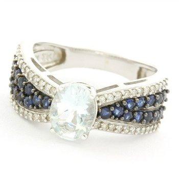 Solid 14k White Gold, 0.33ctw Genuine Diamond & 0.50ctw Genuine Sapphire & 1.50ctw Genuine Aquamarine Ring Size 7