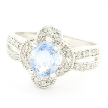 Solid 14k White Gold, 0.33ctw Genuine Diamond & 1.50ctw Genuine Aquamarine Ring Size 7