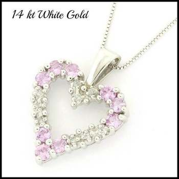 Solid 14k White Gold, 0.35ctw Genuine Diamond & 0.60ctw Pink Sapphire Necklace with Heart Shape Pendant
